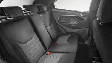 You sit upright in the Ka+, which prevents lounging out but ensures legroom is good