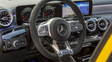 The A 35's new sports steering wheel features new touch-sensitive buttons