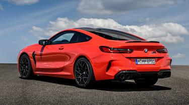 BMW M8 Competition coupe rear 3/4 static