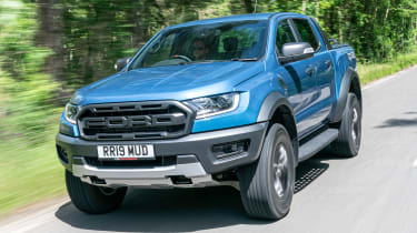 Ford Ranger Raptor pickup front 3/4 tracking
