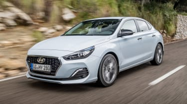 The Hyundai i30 Fastback is a family car with five-door coupe looks