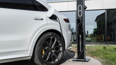Porsche Cayenne Turbo S E-Hybrid - rear quarter close-up charging