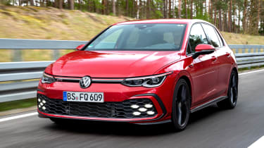 2020 Volkswagen Golf GTI  - front 3/4 view dynamic