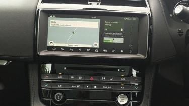Infotainment screen in Jaguar F-Pace
