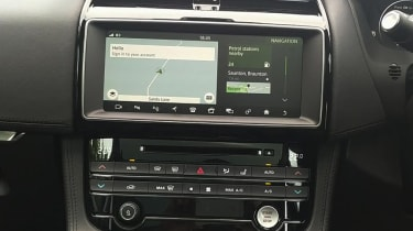 Infotainment screen in Jaguar F-Pace