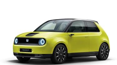 Honda e front yellow