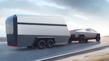 Tesla Cybertruck - trailer towing dynamic view
