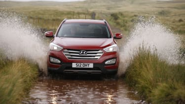 The Hyundai isn't a rugged off-roader, but it does have four-wheel-drive to help in poor conditions