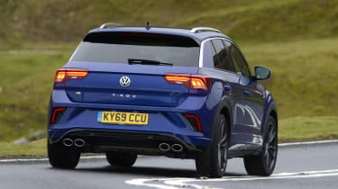 Volkswagen T-Roc R driving - rear view
