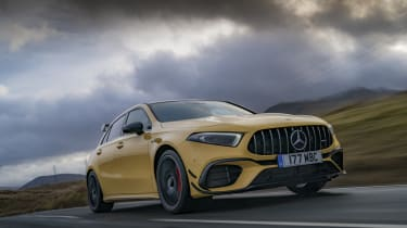 Mercedes-AMG A 45 S hatchback - front 3/4 dynamic view