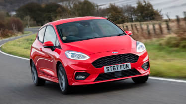 Ford Fiesta hatchback front 3/4 driving