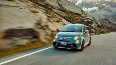 Abarth 695 70th Anniversario - front 3/4 dynamic wide view