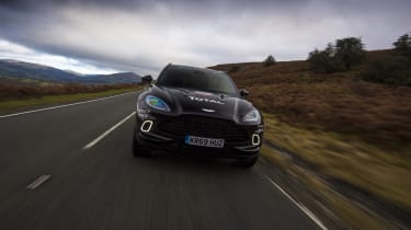 Aston Martin DBX prototype driving - front end view