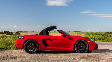 Porsche 718 Boxster convertible side roof folding
