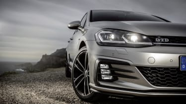Unique to the Golf GTI and Golf GTD are strakes on the front foglights