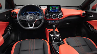 New Nissan Juke interior with orange accents