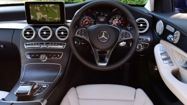 Inside, the C350e is just as plush as the rest of the C-Class range, with a stylish dashboard