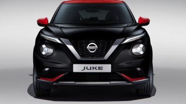 New Nissan Juke in black and red - front end view