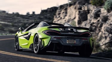 McLaren 600LT Spider convertible rear tracking