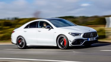 Mercedes-AMG CLA 45 saloon side driving