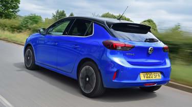 Vauxhall Corsa-e hatchback rear 3/4 tracking