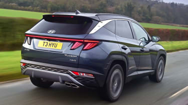 Hyundai Tucson SUV rear 3/4 tracking