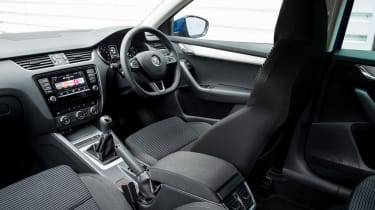 The Octavia may not have the same sense of style inside as the Audi or the Golf but the interior is smart and well built.
