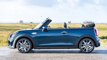 MINI Sidewalk Convertible - side view, with roof down