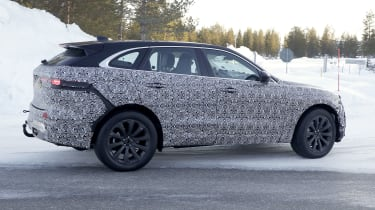 Jaguar F-Pace facelift in camouflage - side view