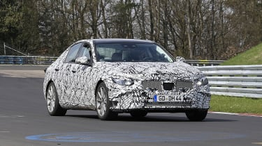 2021 Mercedes C-Class testing at the Nurburgring - front quarter