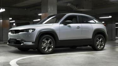 Mazda MX-30 driving in car park