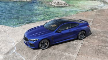 BMW M8 Competition coupe - 3/4 aerial elevated view