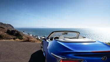 Lexus LC500 Convertible parked on cliff - roof down