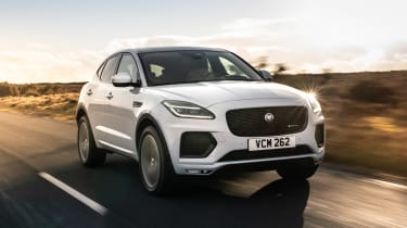 Jaguar E-Pace SUV review front 3/4 driving