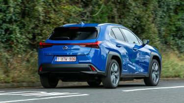 Lexus UX 300e SUV rear 3/4 tracking
