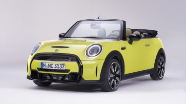 MINI Cooper S convertible with roof down
