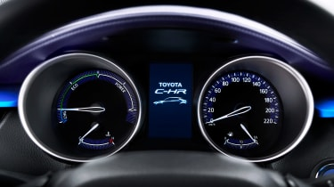 The instruments are clear and easy to rear; rev counter is replaced by a power gauge in hybrid models