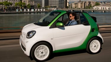 A compact battery pack limits the ForTwo ED Cabrio's range to 96 miles, or around 75 if you are less careful how you drive