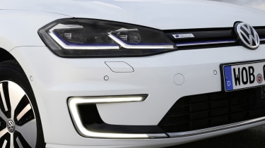 C-shape daytime running lights distinguish the front end of the e-Golf