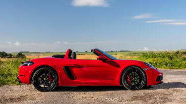 Porsche 718 Boxster convertible side roof down