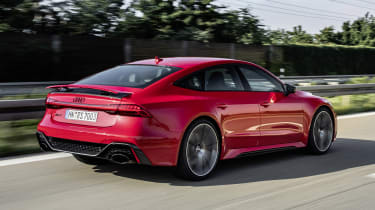 Audi RS7 driving - rear side view