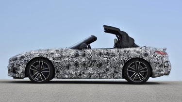 The test car wears a conventional soft top as opposed to the folding metal roof on the previous Z4.