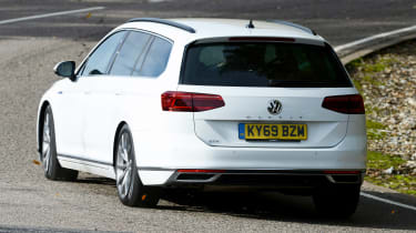 Volkswagen Passat GTE Estate cornering - rear view