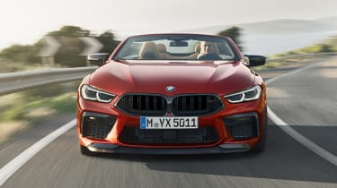 BMW M8 Competition convertible - front on driving