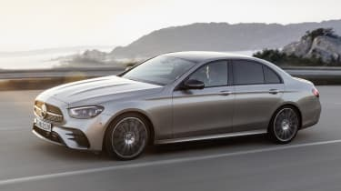 Mercedes E-Class driving - front/side view