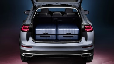 2020 Volkswagen Golf Estate Alltrack boot with two large suitcases