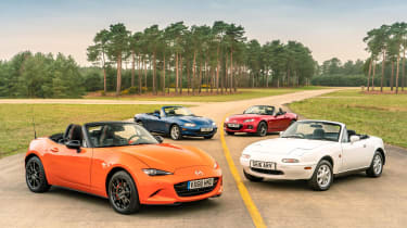 Mazda MX-5 30th Anniversary with previous MX-5 models