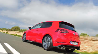 The Golf GTI is available in three-door or five-door guises, but unlike the Golf R, there's no estate version