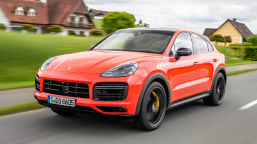 Porsche Cayenne Coupe SUV front 3/4 tracking