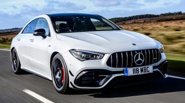 Mercedes-AMG CLA 45 saloon front 3/4 tracking